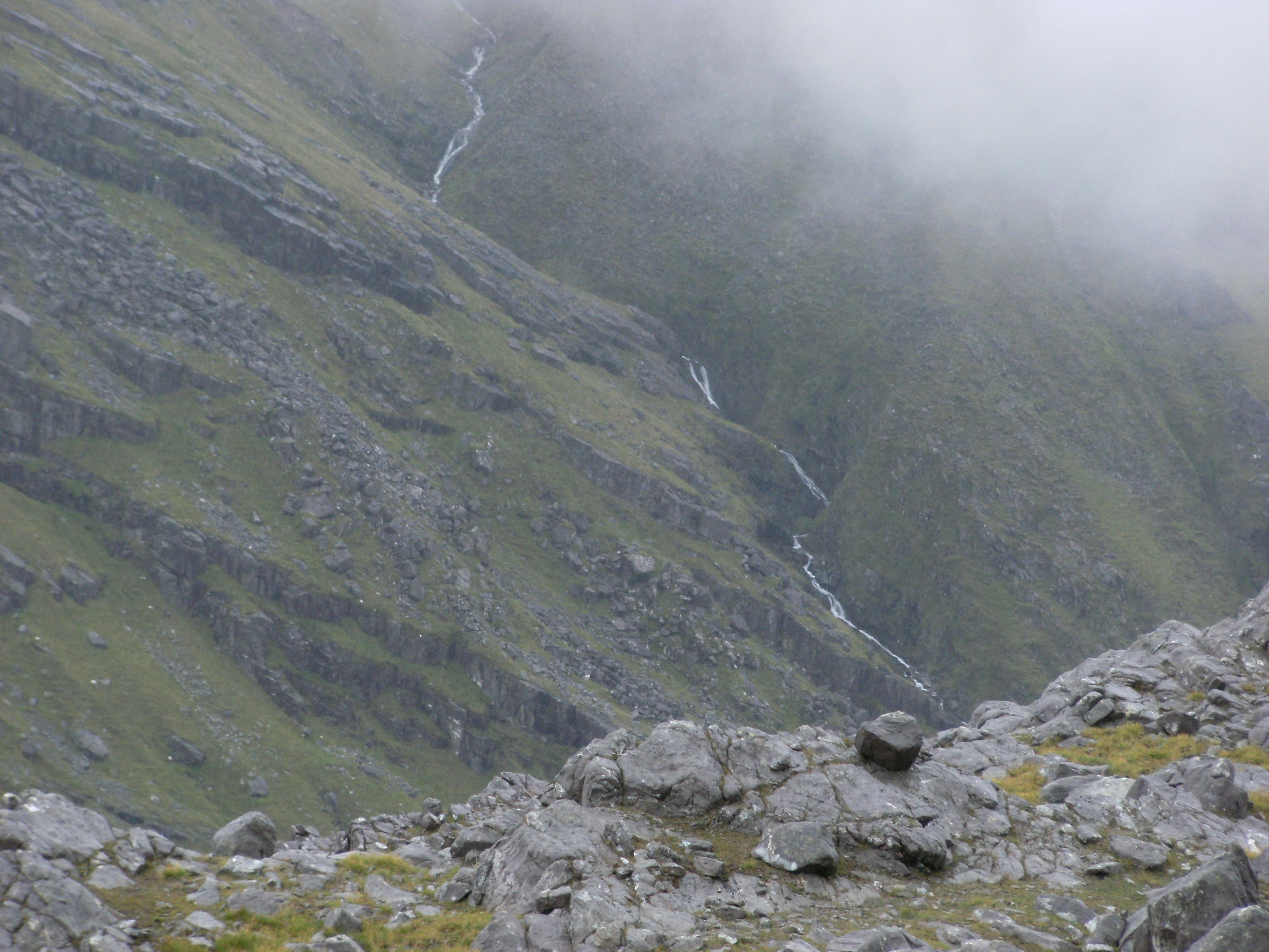 Looking down from the top of Mweelrea, July 2009.